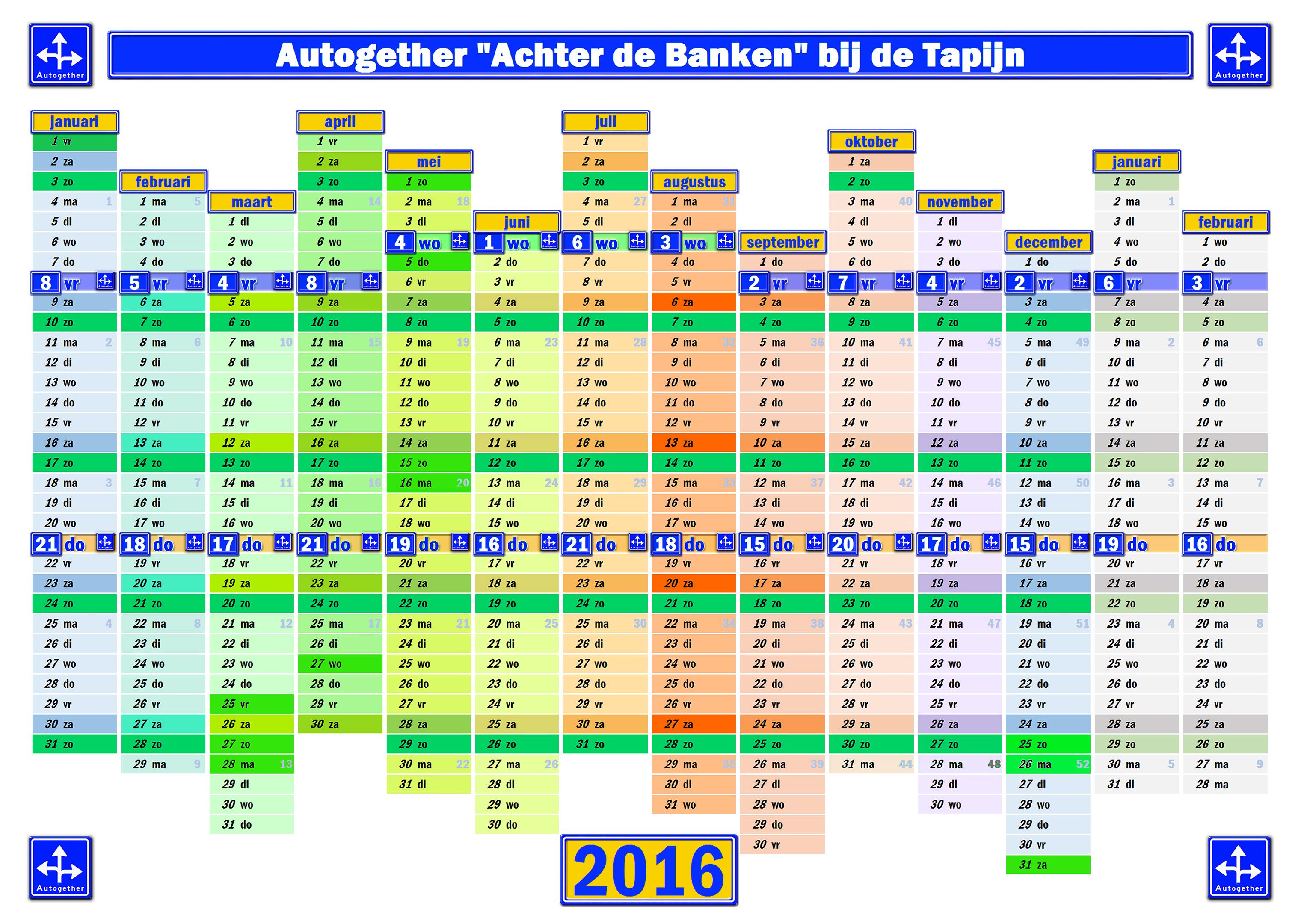 Autogether Data voor 2016 op een Kalender ingetekent